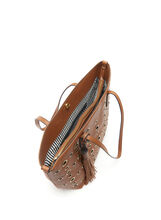 Eyelet & Tassel Tote Bag, Brown, hi-res