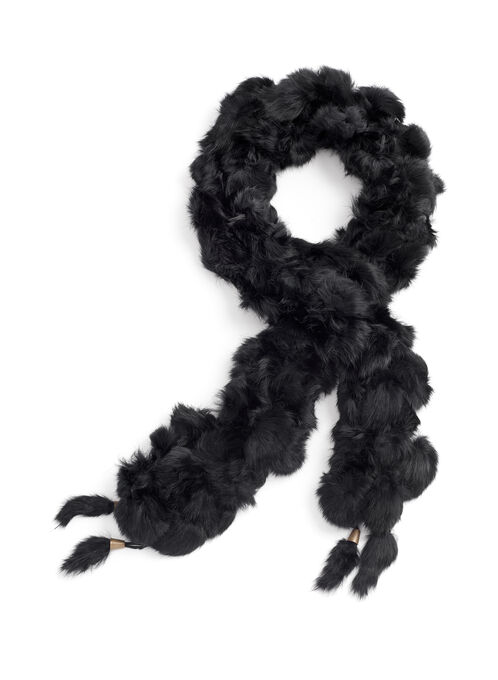 Rabbit Fur Pompom Scarf , Black, hi-res