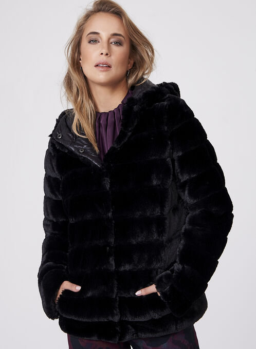 Frank Lyman - Reversible Faux Fur Coat, Black, hi-res