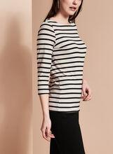 3/4 Sleeve Stripe Print Top , Brown, hi-res