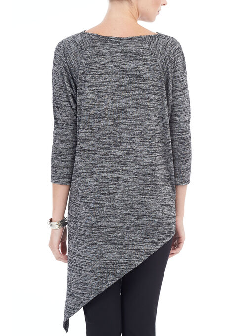 3/4 Sleeve Asymmetric Tunic Top, Black, hi-res