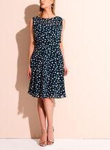 Adrianna Papell - Dot Print A-line Chiffon Dress, , hi-res