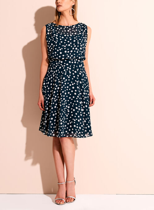 Adrianna Papell Dot Print A-line Chiffon Dress, Blue, hi-res
