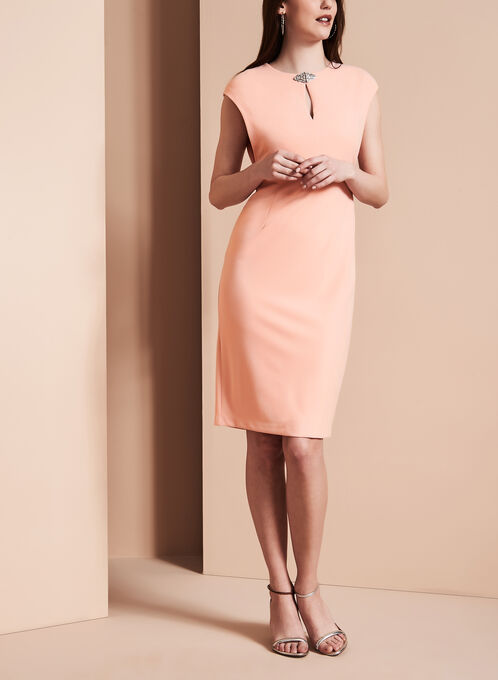 Maggy London Jewel Trim Dress, Pink, hi-res