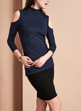 Cold Shoulder Mock Neck Top, Blue, hi-res