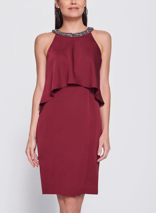 Sleeveless Embellished Capelet Dress, Red, hi-res