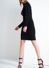 Yoke Cutout Sequin Detail Dress, Black, hi-res