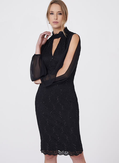 BA Nites - Choker Neck Sequin Lace Dress, Black, hi-res