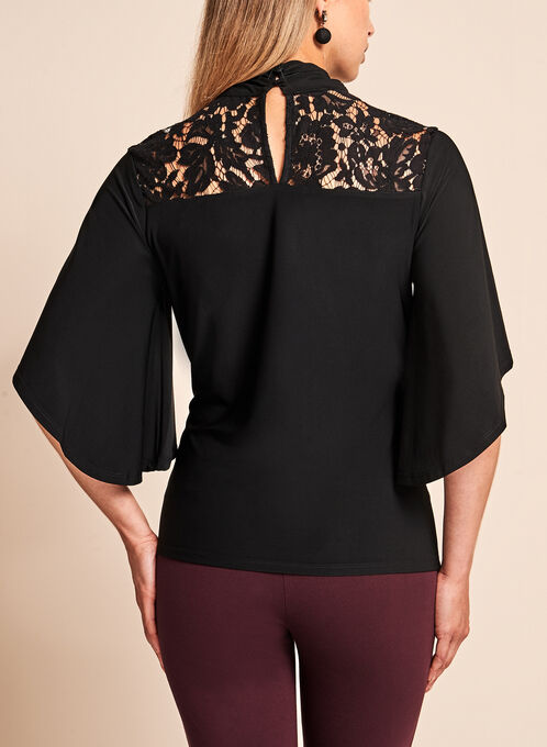 Lace Trim Angel Sleeve Top, Black, hi-res