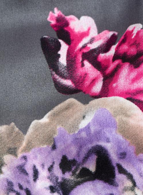 Oblong Floral Print Scarf , Grey, hi-res