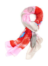 Oblong Floral Print Scarf , Pink, hi-res