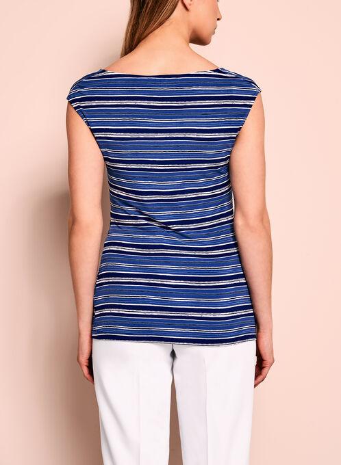 Drape Neck Stripe Print Top, Blue, hi-res