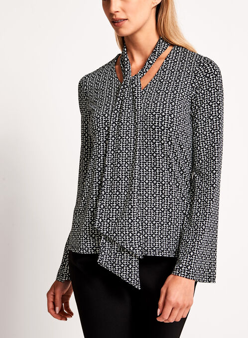Mini Cross Print Scarf Tie Top, Black, hi-res