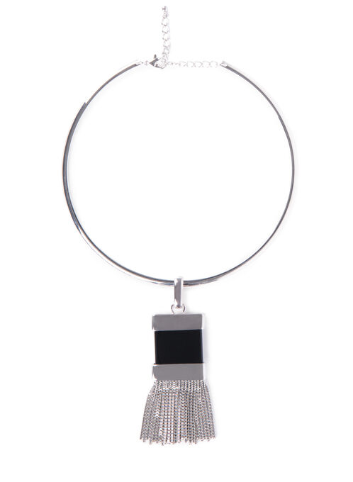 Chain Tassel Collar Necklace , Black, hi-res