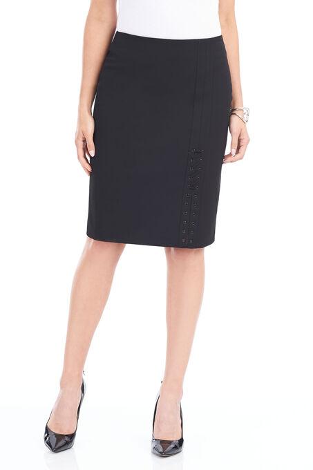 Cord Detail Pencil Skirt, Black, hi-res