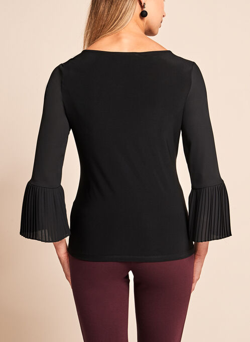3/4 Sheer Bell Sleeve Blouse, Black, hi-res
