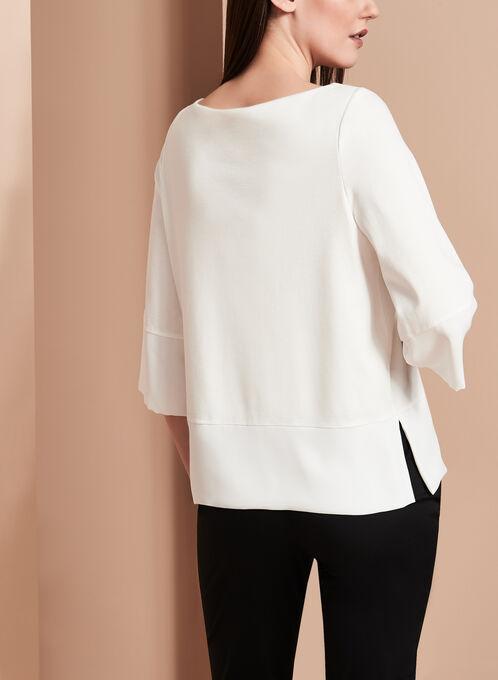 3/4 Sleeve Kimono Top, Off White, hi-res
