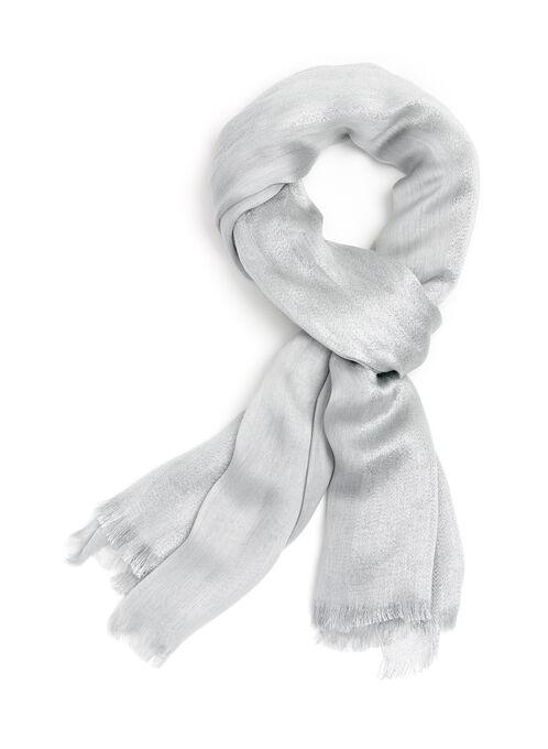 Foulard rectangulaire argenté, Argent, hi-res