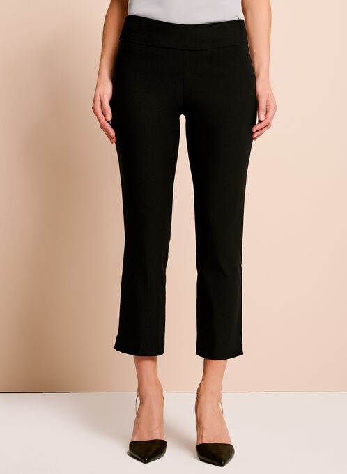 Pull-On Stretch Capri Pants, Black, hi-res