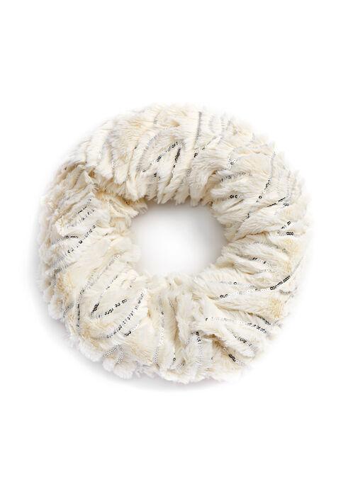 Sequin Faux Fur Loop Scarf, Off White, hi-res