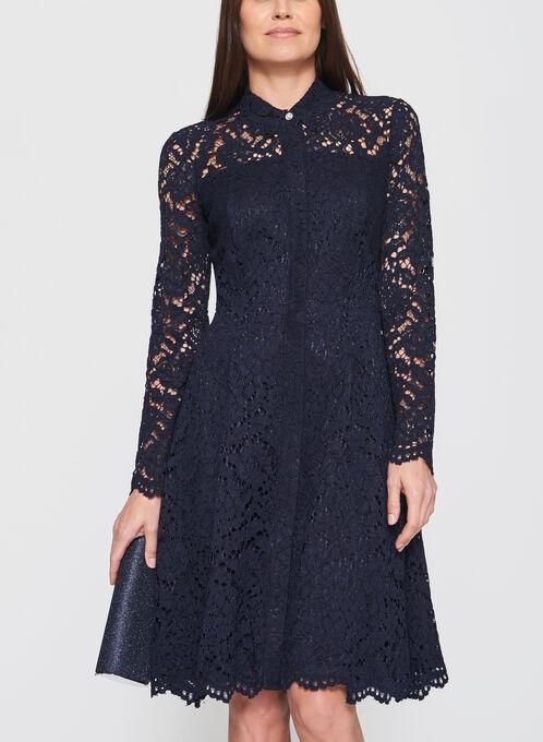 Maggy London - Robe chemisier coton et dentelle, Bleu, hi-res