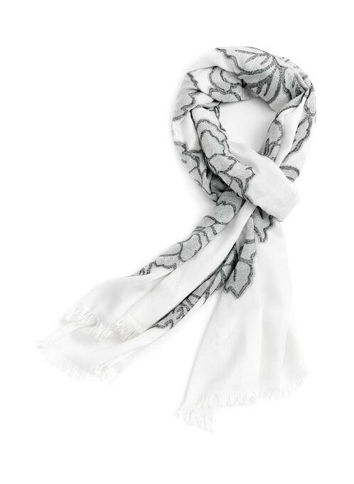 Floral Print Jacquard Scarf, Black, hi-res