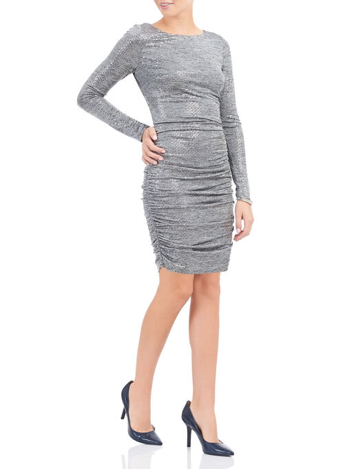 Vince Camuto Sequin Ruched Dress, Silver, hi-res