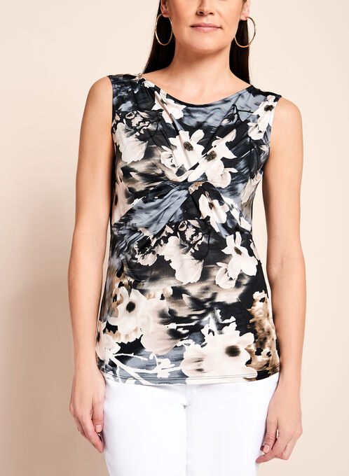 Floral Print Ruched Front Top , White, hi-res
