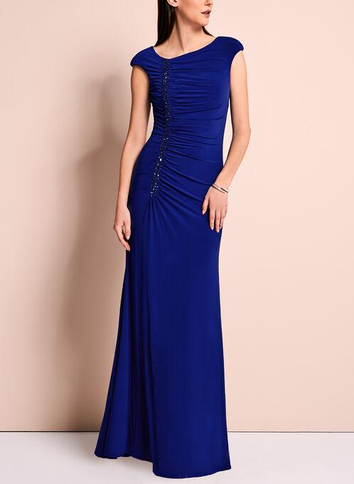 Robe de soirée drapée ornée de perles, Bleu, hi-res