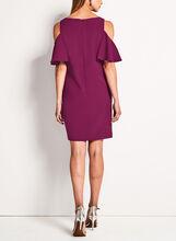 Cold Shoulder Flutter Sleeve Dress , Red, hi-res