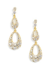 Open Teardrop Tiered Earrings, Gold, hi-res