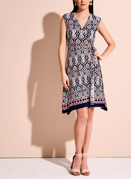 Ivanka Trump Printed Faux Wrap Dress, Blue, hi-res