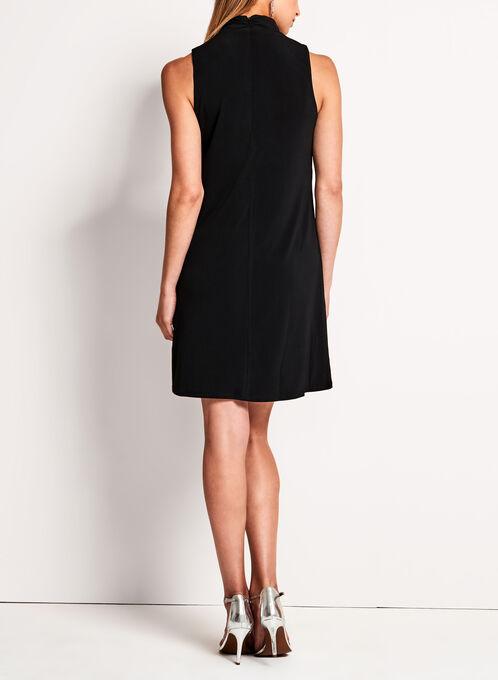 Maggy London - Mock Neck Ruffle Trim Trapeze Dress, Black, hi-res