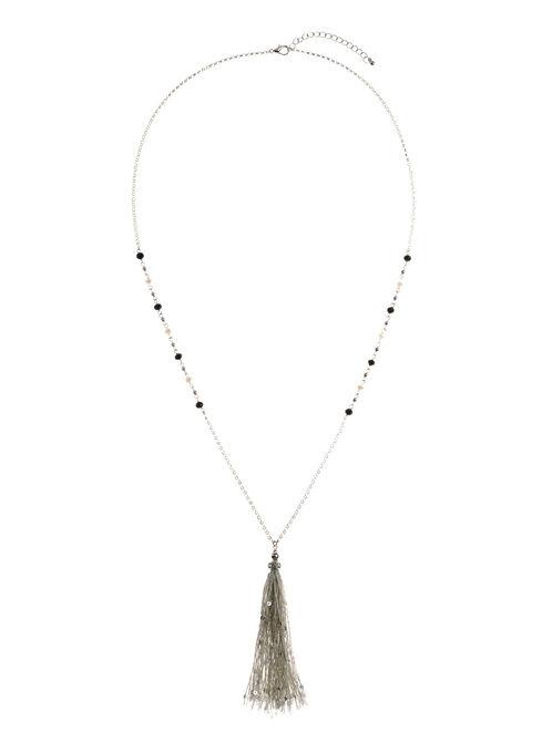 Collier pendentif pompon avec sequins, Argent, hi-res