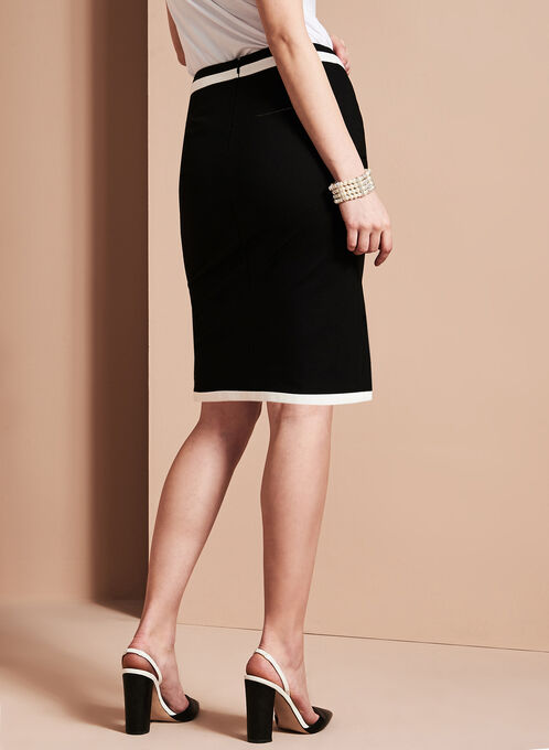 Asymmetric Crossover Pencil Skirt, Black, hi-res