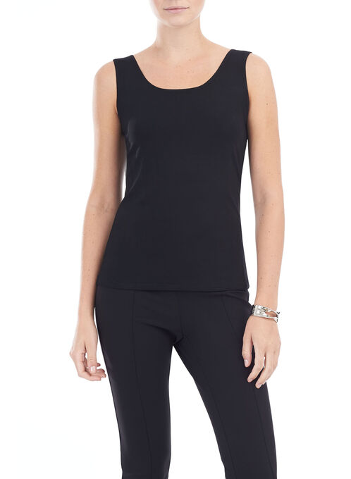 Sleeveless Scoop Neck Tank Top, Black, hi-res