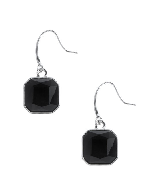 Square Stone Dangle Earrings, Black, hi-res