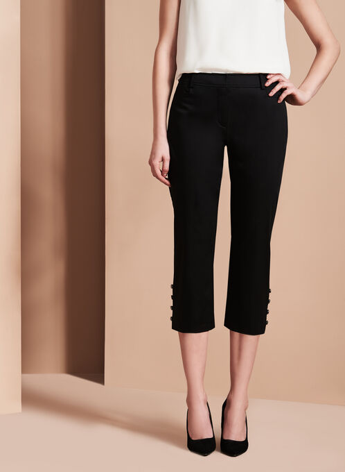 Sateen Button Trim Capri Pants, Black, hi-res