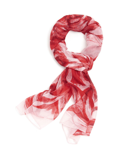 Sheer Rose Print Scarf, Red, hi-res