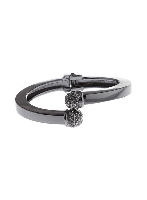 Bracelet croisé métallisé avec boule facettée, Gris, hi-res
