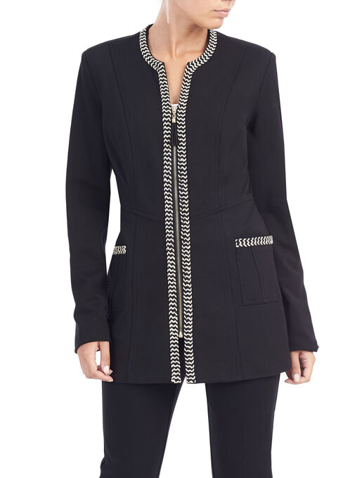 Linea Domani Braid Trim Jacket, Black, hi-res