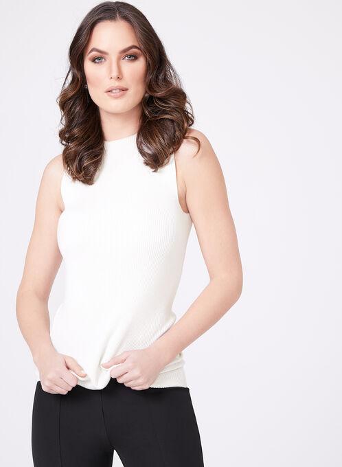 Sleeveless Mock Turtleneck Sweater, Off White, hi-res
