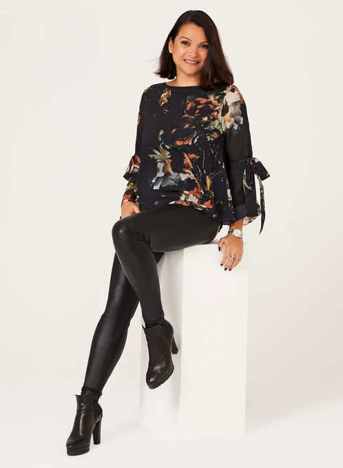 Floral Print Long Sleeve Blouse, Black, hi-res