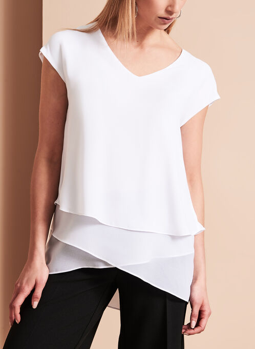 Asymmetric Triple Layer Blouse, White, hi-res