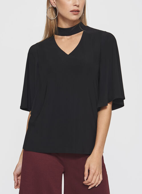 Choker Neck Angel Sleeve Top, Black, hi-res