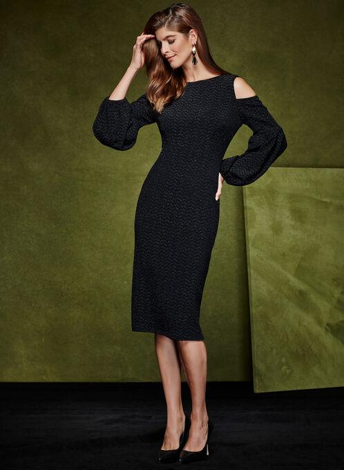 Maggy London - Robe brillante à épaules dénudées, Noir, hi-res