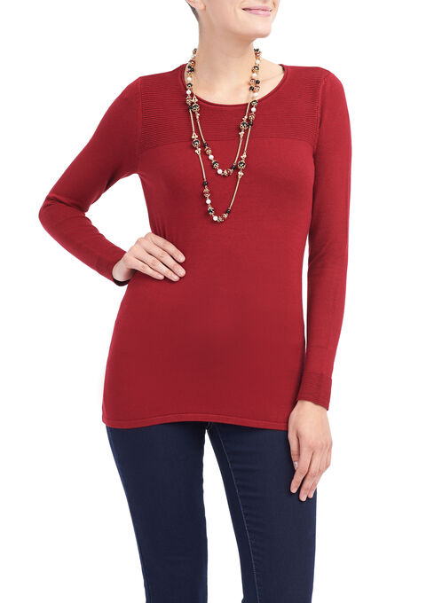 Long Sleeve Ribbed Knit Top, Red, hi-res