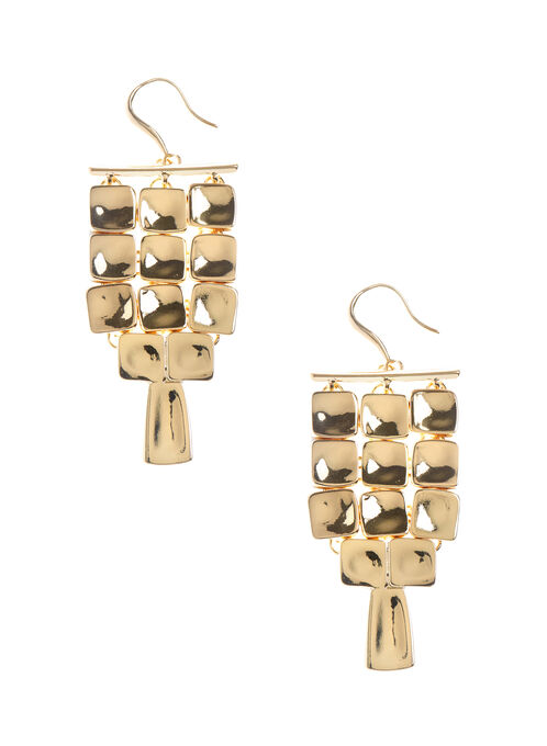 Square Chandelier Earrings, Gold, hi-res