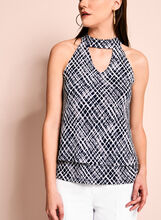 Graphic Print Choker Top, , hi-res