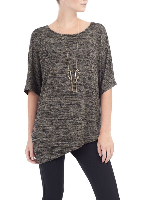 Short Sleeve Asymmetric Tunic Top, Black, hi-res